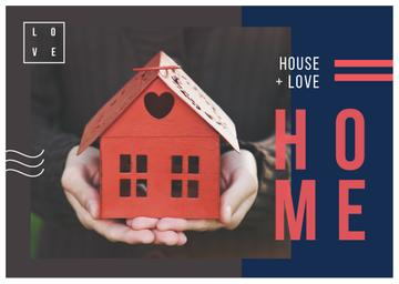 Real Estate Ad Hands Holding House Model | Postcard Template