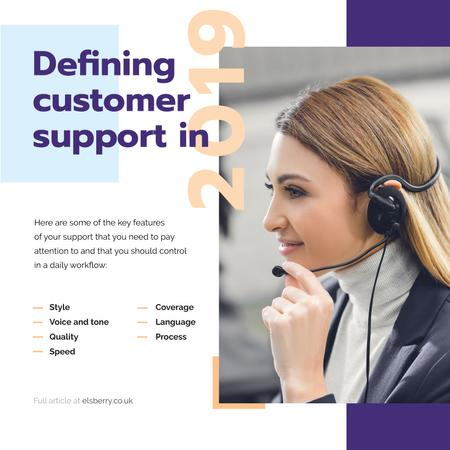 Customers Support Smiling Assistant in Headset Instagram Modelo de Design