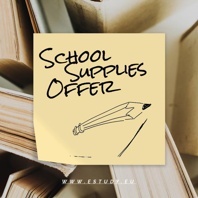Special School Offer with pencil drawing the line Animated Post Design Template