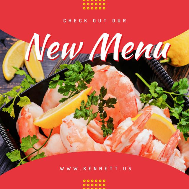 Cooked shrimps with lemon Instagram Design Template