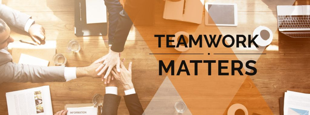 teamwork matters poster with business people holding hands together — Crear un diseño