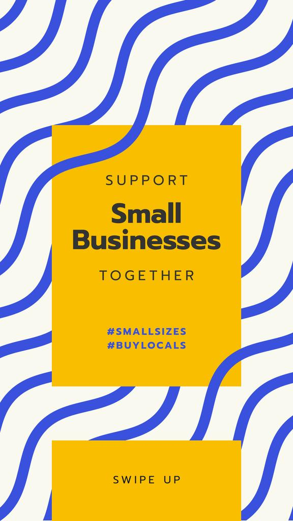 #BuyLocals Plea to Support Small Business on blue lines background — Создать дизайн