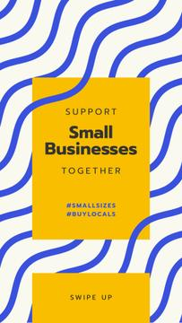 #BuyLocals Plea to Support Small Business on blue lines background