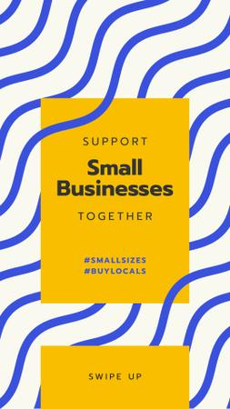 Designvorlage #BuyLocals Plea to Support Small Business on blue lines background für Instagram Story