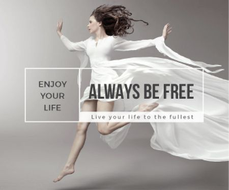 Plantilla de diseño de Inspiration Quote Woman Dancer Jumping Large Rectangle