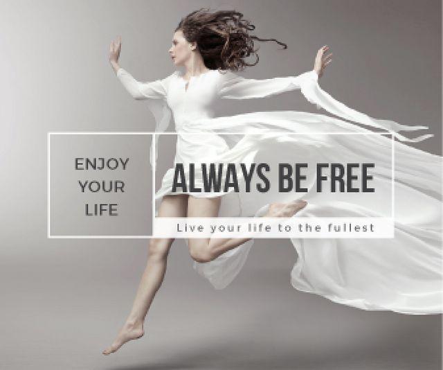 Ontwerpsjabloon van Large Rectangle van Inspiration Quote Woman Dancer Jumping