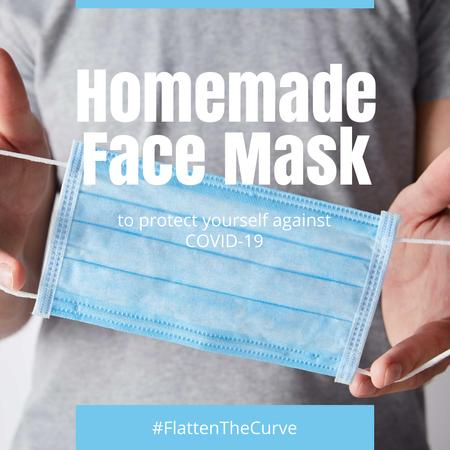 #FlattenTheCurve Man holding homemade face Mask Instagram – шаблон для дизайну