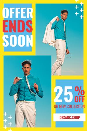 Plantilla de diseño de Fashion Ad with Man Wearing Suit in Blue Pinterest