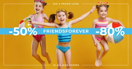 Happy Kids jumping with balls on Best Friends Day Facebook AD Design Template