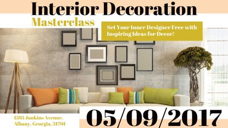 Plantilla de diseño de Interior decoration masterclass with Sofa in room Title
