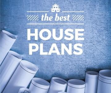 Best house plans banner with blueprints