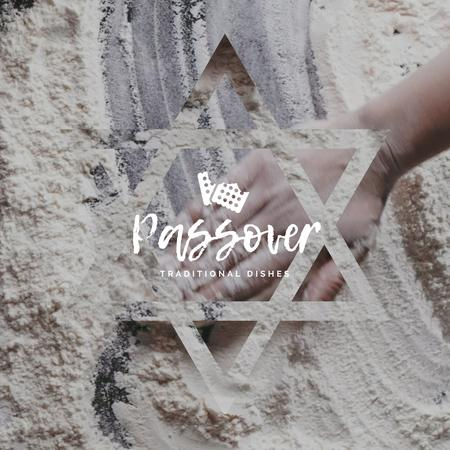 Ontwerpsjabloon van Animated Post van Hand in Flour Cooking bread for Passover