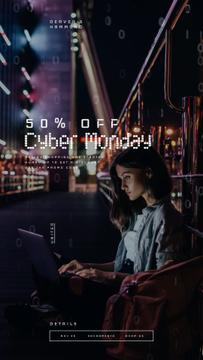 Cyber Monday Sale Woman working on laptop in city