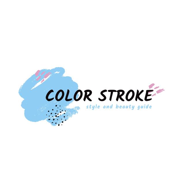 Plantilla de diseño de Beauty Guide with Paint Smudges in Blue Logo