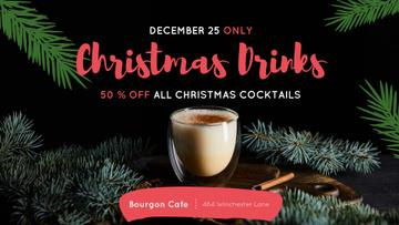 Christmas Drinks Offer Glass with Eggnog | Facebook Event Cover Template
