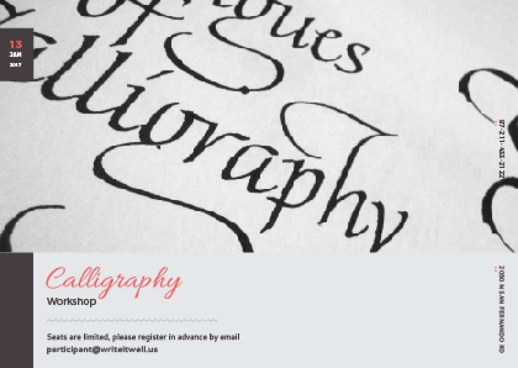 Calligraphy Workshop Announcement with Decorative Letters — Maak een ontwerp