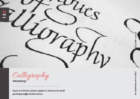Plantilla de diseño de Calligraphy Workshop Announcement with Decorative Letters Postcard