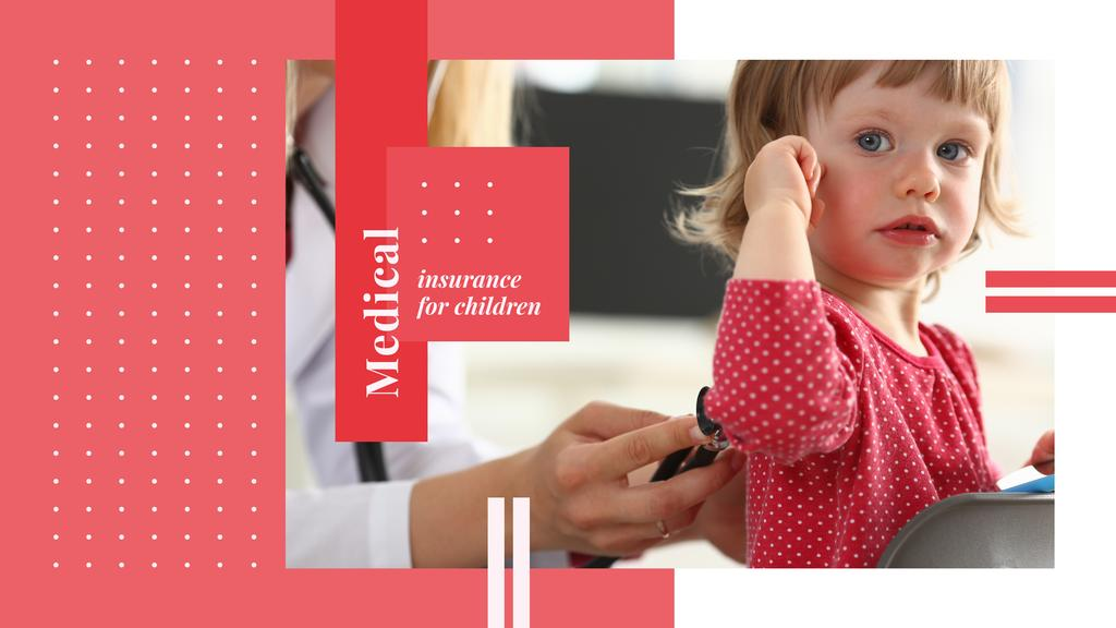 Kids Healthcare with Pediatrician Examining Child in Red — Crea un design
