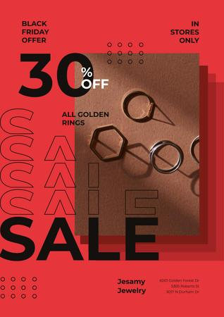 Designvorlage Jewelry Sale with Shiny Rings in Red für Poster