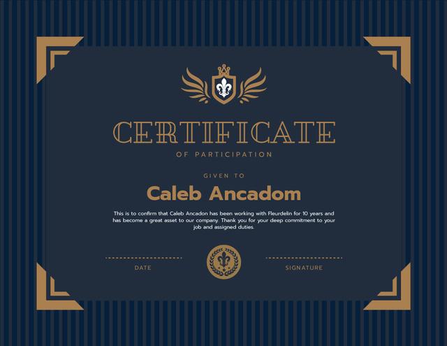 Company Employee Participation gratitude in blue Certificate Design Template