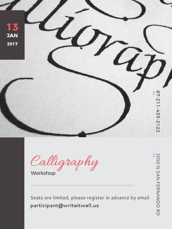Plantilla de diseño de Calligraphy Workshop Announcement Decorative Letters Poster US