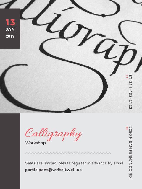 Ontwerpsjabloon van Poster US van Calligraphy Workshop Announcement Decorative Letters