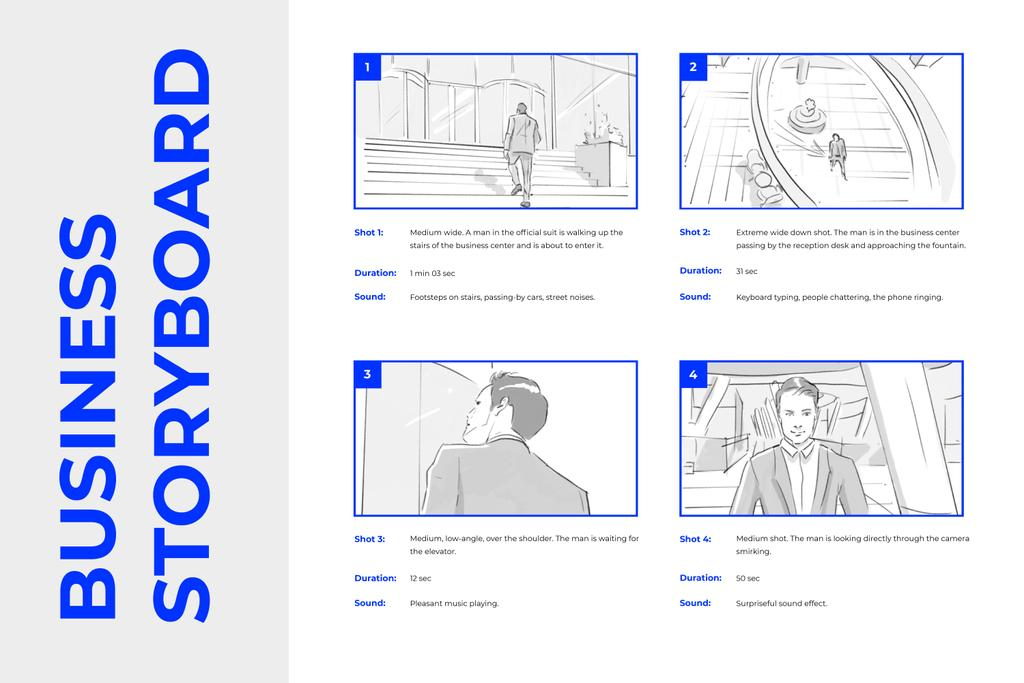 Graphic illustrations of Man in Business Center Storyboard Design Template