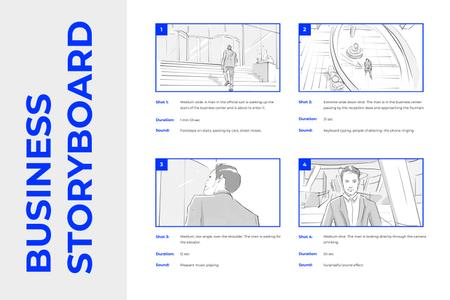Template di design Graphic illustrations of Man in Business Center Storyboard