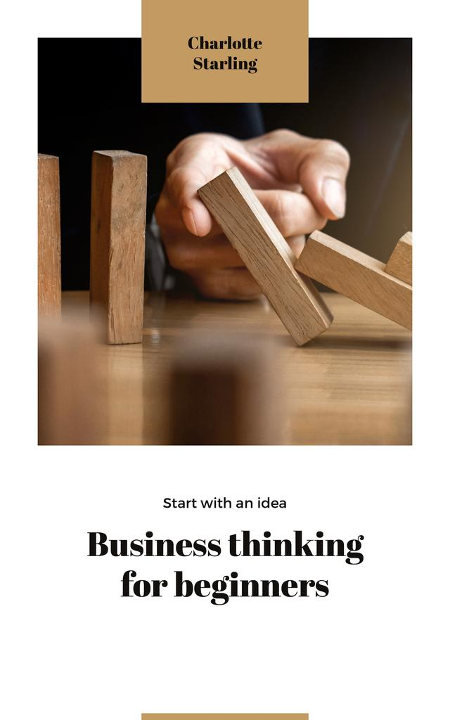 Business Ideas Man Stopping Falling Dominoes — Crear un diseño