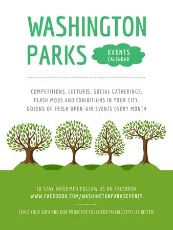 Plantilla de diseño de Park Event Announcement Green Trees Poster US