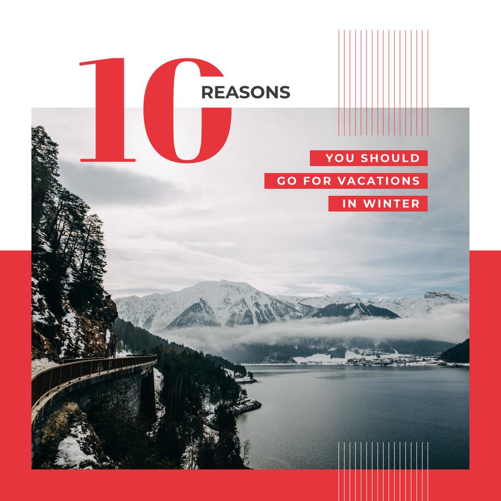 Scenic landscape with snowy mountains Instagram – шаблон для дизайна
