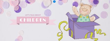 Ontwerpsjabloon van Facebook Video cover van Teddy bear in gift box
