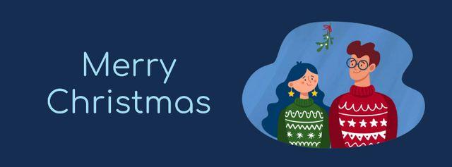 Ontwerpsjabloon van Facebook Video cover van Couple kissing under Christmas mistletoe