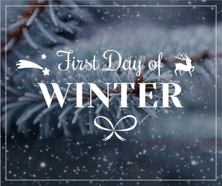 First day of winter lettering with frozen fir tree branch Facebook Modelo de Design