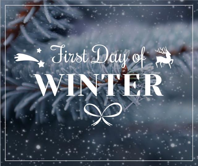 First day of winter lettering with frozen fir tree branch Facebook Design Template