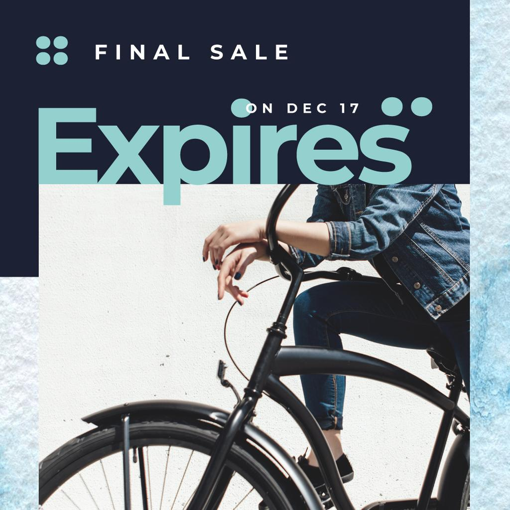 Sale Ad with Girl by black bicycle — Crea un design