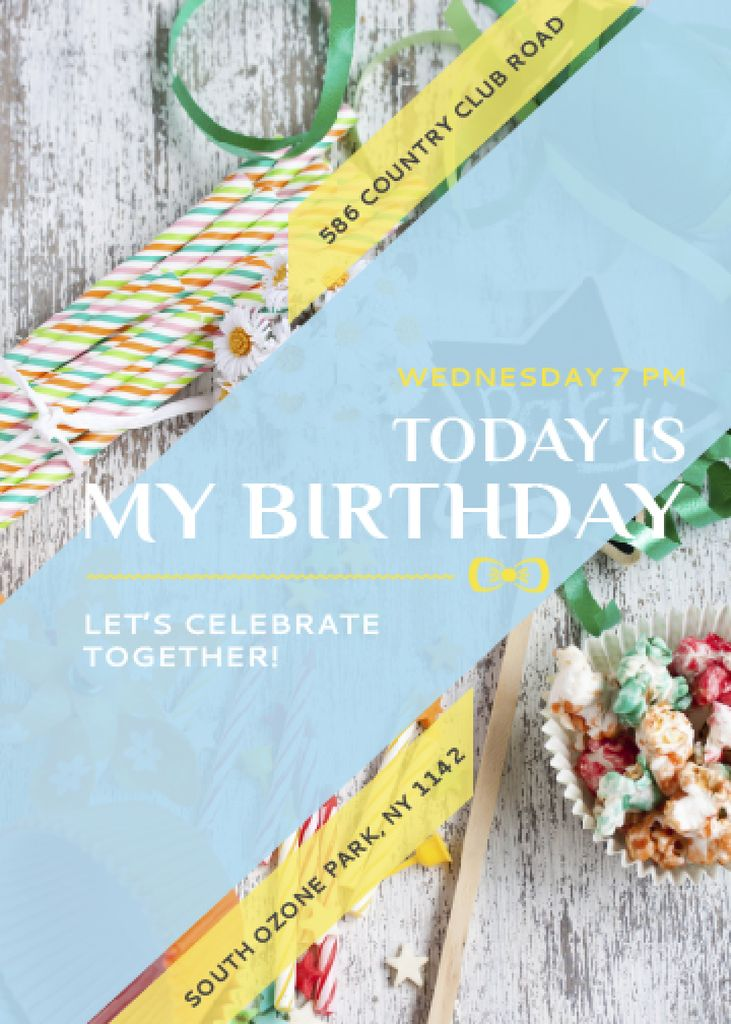 Birthday Party Invitation Bows and Candies | Flyer Template — Maak een ontwerp