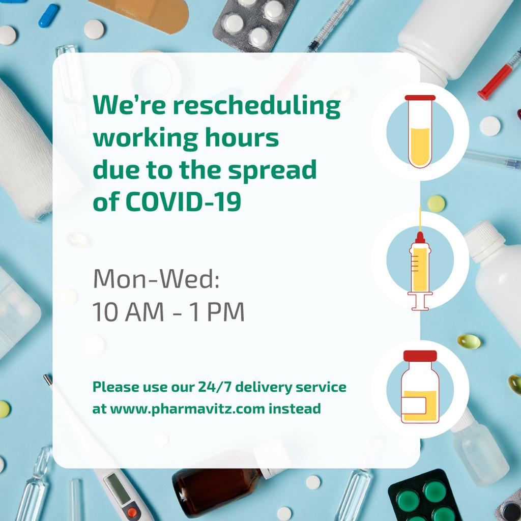 Working Hours Rescheduling due to Covid-19 Instagram Modelo de Design