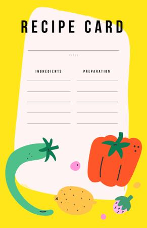 Cute illustration of Raw Vegetables and Fruits Recipe Card Modelo de Design