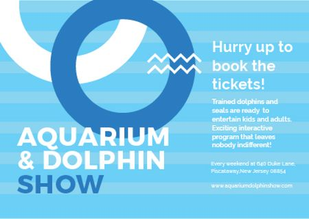 Ontwerpsjabloon van Card van Aquarium & Dolphin show Announcement