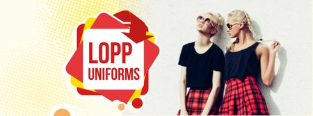 Back to School Sale Girls in Uniform Facebook coverデザインテンプレート