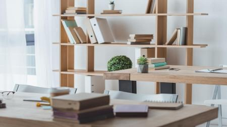Plantilla de diseño de Cozy wooden Office with white walls Zoom Background
