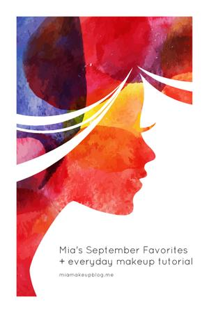 Red Silhouette of Beautiful Woman Pinterest – шаблон для дизайна