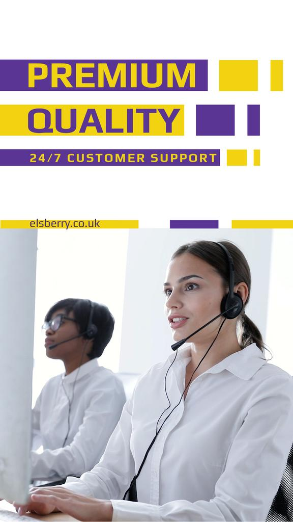 Customers Support Smiling Assistant in Headset | Vertical Video Template — Modelo de projeto