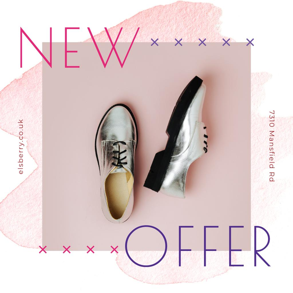 Shoes Store Promotion with Silver Derby | Instagram Post Template — Crear un diseño