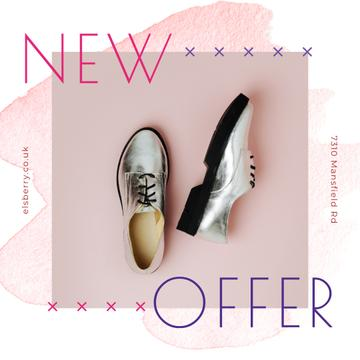 Fashion Ad with Silver Shoes for Instagram Post in Pink