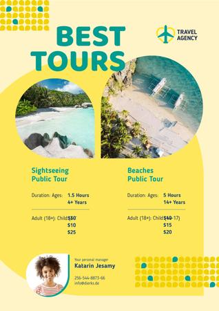 Travel Tour Offer with Sea Coast Views Poster Modelo de Design