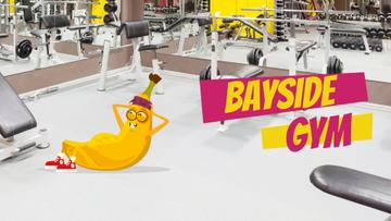 Banana character exercising in gym