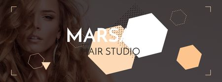 Ontwerpsjabloon van Facebook cover van Hair studio Offer with Girl in earrings