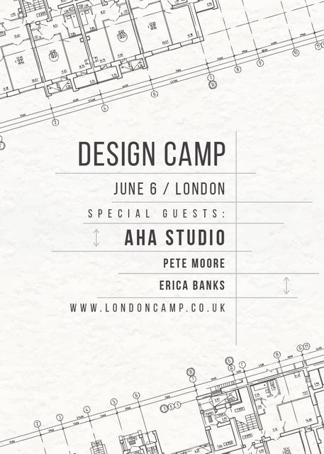 Ontwerpsjabloon van Invitation van Design camp announcement on blueprint